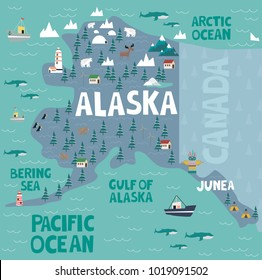 Illustrated map of the state of Alaska in United States with cities and landmarks. Editable vector illustration
