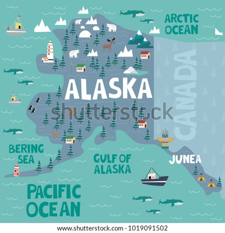Illustrated Map State Alaska United States Stock Vector (Royalty ...