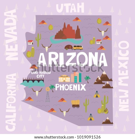Arizona In Us Map.Illustrated Map State Arizona United States Stock Vector Royalty