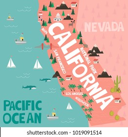 Illustrated map of the state of California in United States with cities and landmarks. Editable vector illustration