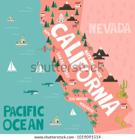 Illustrated Map State California United States Stock Vector (Royalty ...