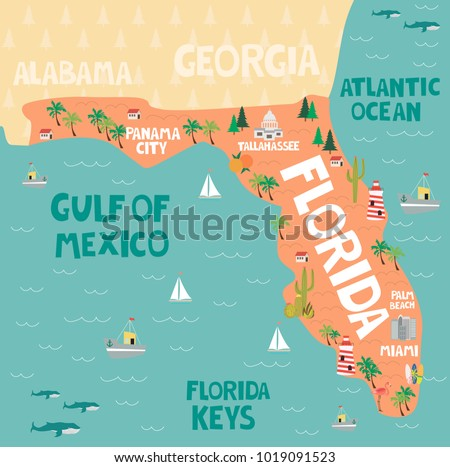 Map Of The State Of Florida.Illustrated Map State Florida United States Stock Vector Royalty