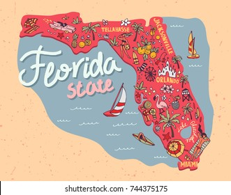 Illustrated map of the state of Florida, USA. Travel and attractions