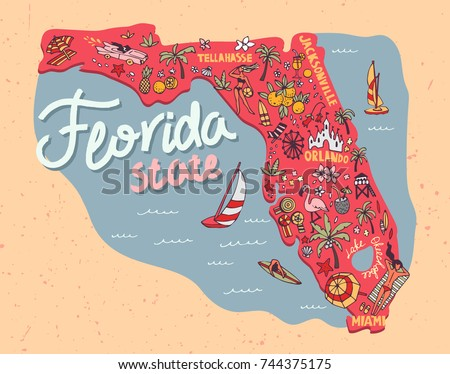 Illustrated Map State Florida USA Travel Stock Vector (Royalty Free ...