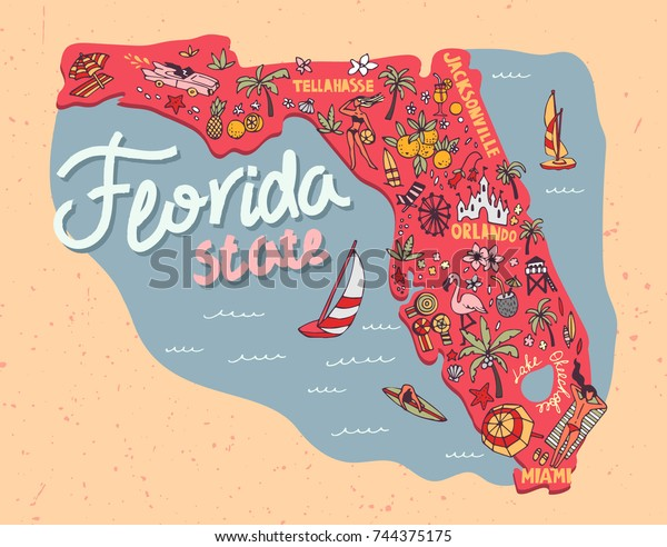 Illustrated Map State Florida Usa Travel Stock Vector ...