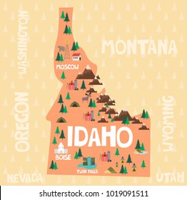 Illustrated map of the state of Idaho in United States with cities and landmarks. Editable vector illustration