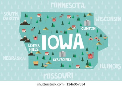 Illustrated map of the state of Iowa in United States with cities and landmarks. Editable vector illustration