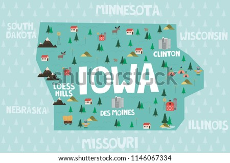 State Of Iowa Map With Cities.Illustrated Map State Iowa United States Stock Vector Royalty Free