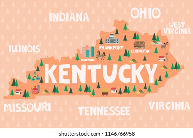 Illustrated map of the state of Kentucky in United States with cities and landmarks. Editable vector illustration