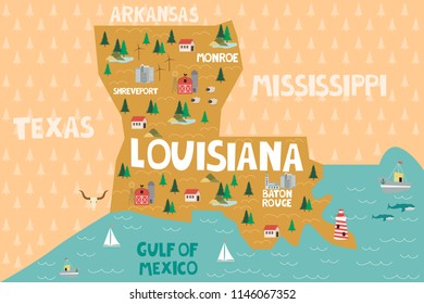 Illustrated map of the state of Louisiana in United States with cities and landmarks. Editable vector illustration