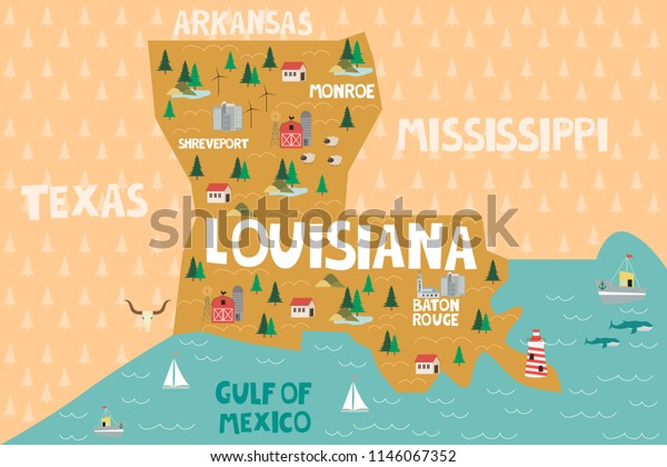 Map Of Louisiana And Texas With Cities.Illustrated Map State Louisiana United States Stock Vector Royalty