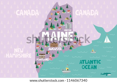 Illustrated Map State Maine United States Stock Vector (Royalty Free ...