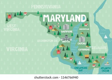 Illustrated map of the state of Maryland in United States with cities and landmarks. Editable vector illustration