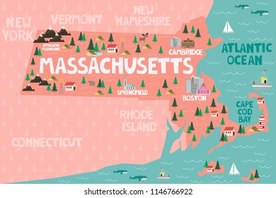 Illustrated map of the state of Massachusetts in United States with cities and landmarks. Editable vector illustration
