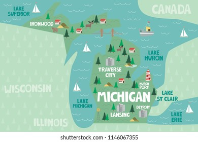 Illustrated map of the state of Michigan in United States with cities and landmarks. Editable vector illustration