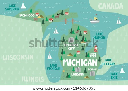 Illustrated Map State Michigan United States Stock Vector (Royalty ...