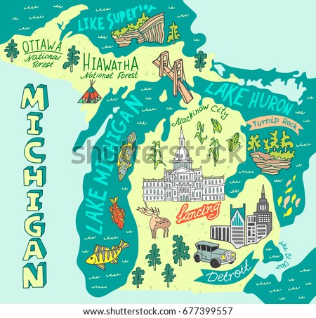 Illustrated Map State Michigan USA Travel Stock Vector (Royalty Free ...