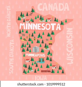 Illustrated map of the state of Minnesota in United States with cities and landmarks. Editable vector illustration