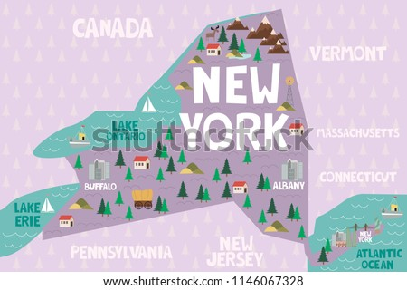 Map Of New York Landmarks.Illustrated Map State New York United Stock Vector Royalty Free