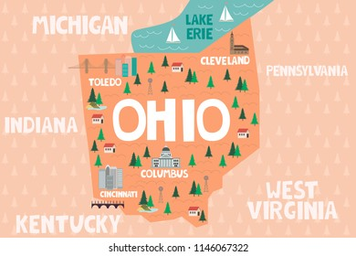 Illustrated map of the state of Ohio in United States with cities and landmarks. Editable vector illustration