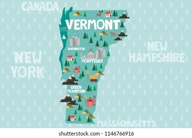 Illustrated map of the state of Vermont in United States with cities and landmarks. Editable vector illustration