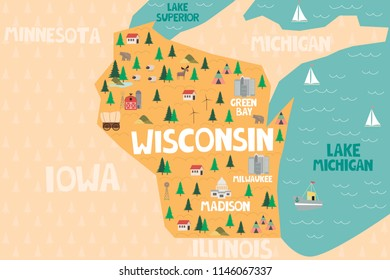 Illustrated map of the state of Wisconsin in United States with cities and landmarks. Editable vector illustration