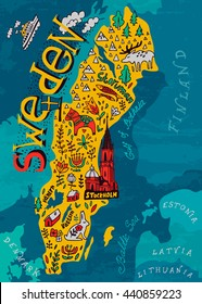 Illustrated map of Sweden