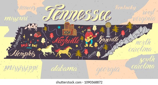 Illustrated map of Tennessee, USA. Travel and attractions