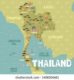 Illustrated map of Thailand with cities and landmarks. Editable vector illustration