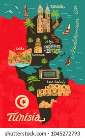 Illustrated map of Tunisia. Travel and attractions