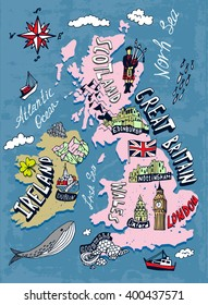 Illustrated map of the UK and Ireland