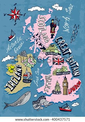 Map Of Uk And Ireland.Illustrated Map Uk Ireland Stock Vector Royalty Free 400437571