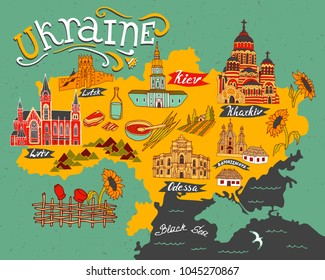 Illustrated map of Ukraine with elements of culture and nature. Travel and attractions