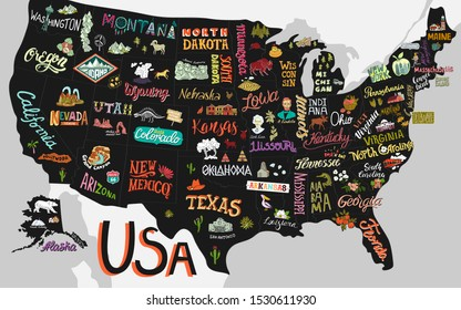 Illustrated map of the USA. Poster with states and attractions of America.
