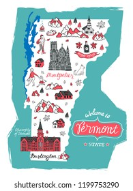 Illustrated map of  Vermont , USA. Travel and attractions. Cartoon map.