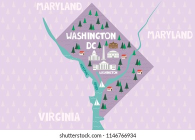 Illustrated map of the Washington DC in United States with cities and landmarks. Editable vector illustration