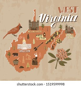 Illustrated map of West Virginia state, USA. Travel and attractions