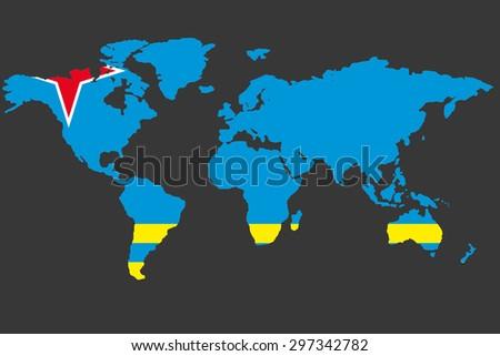 Illustrated Map World Flag Aruba Stock Vector (Royalty Free ...