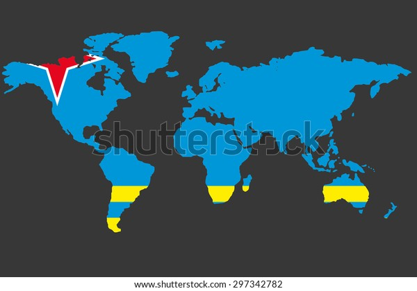 Illustrated Map World Flag Aruba Stock Vector (Royalty Free ...
