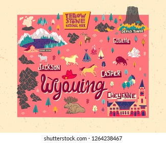 Illustrated map of  Wyoming, USA. Travel and attractions.  Cartoon map