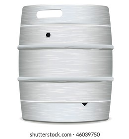 illustrated metal beer keg with grained surface and shadow