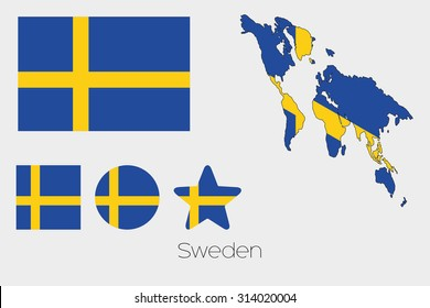 Illustrated Multiple Shapes Set with the Flag of Sweden