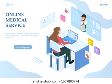 Illustrated online medical service concept with woman on laptop talking to online doctor from home. Vector illustration