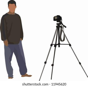 Illustrated photographer with his camera on a tripod
