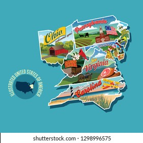 Illustrated pictorial map of eastern United States. Includes Pennsylvania, New Jersey, West Virginia, Virginia, North Carolina, Delaware and Maryland. Vector Illustration.