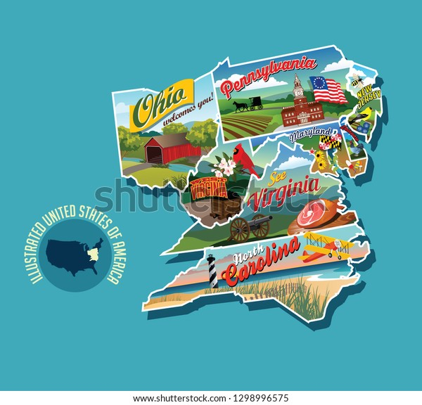 Illustrated Pictorial Map Eastern United States Stock Vector ...