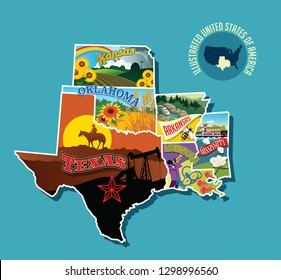 Illustrated pictorial map of south central United States. Includes Kansas, Oklahoma, Texas, Arkansas Louisiana and Mississippi. Vector Illustration.