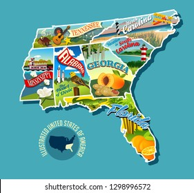 Illustrated pictorial map of Southern United States. Includes Tennessee, Carolinas, Georgia, Florida, Alabama and Mississippi. Vector Illustration.
