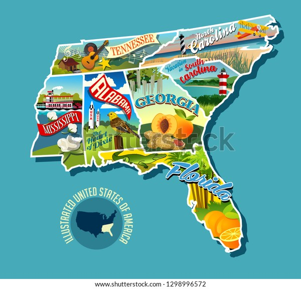 Illustrated Pictorial Map Southern United States Stock ...
