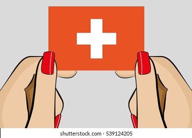 Illustrated Pop Art Hand holding the Flag of  Switzerland